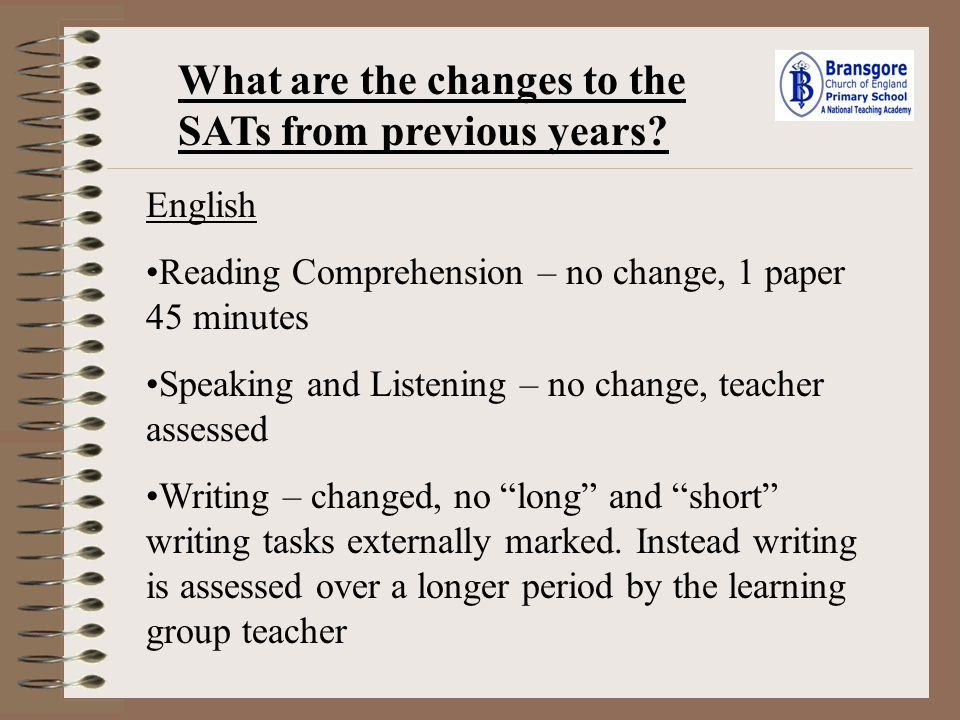 What are the changes to the SATs from previous years