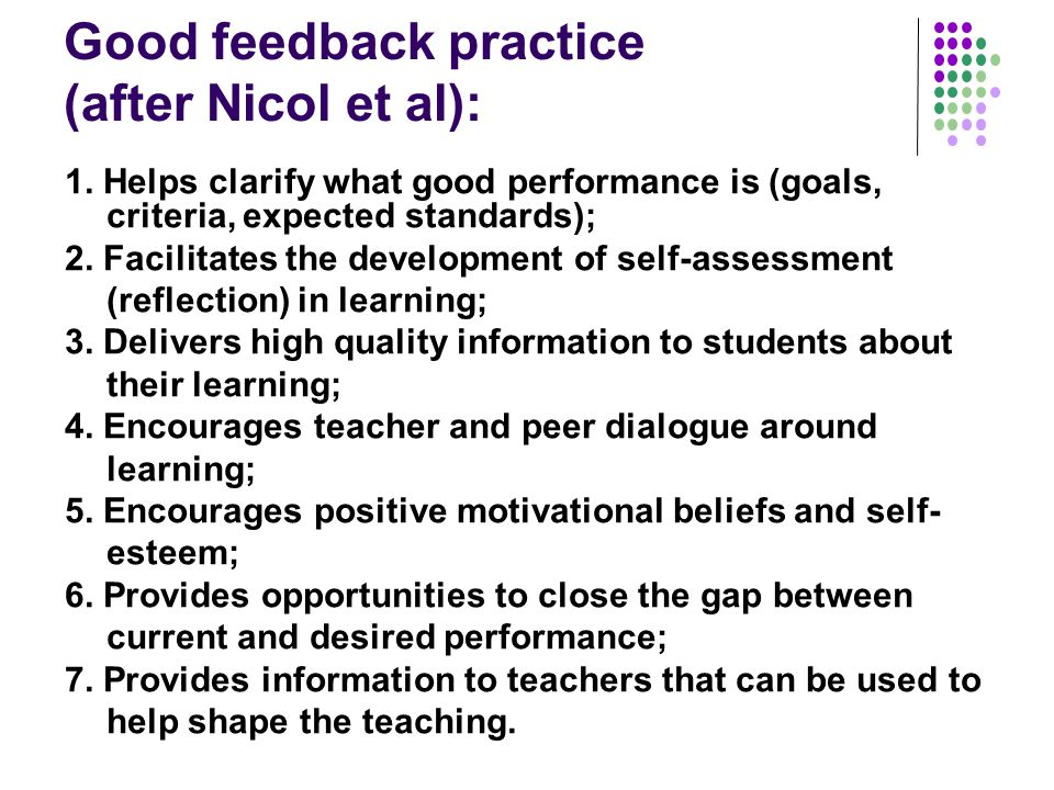 Good feedback practice (after Nicol et al):