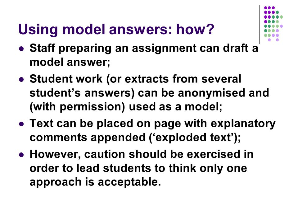 Using model answers: how