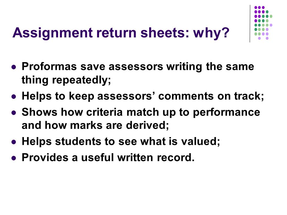 Assignment return sheets: why