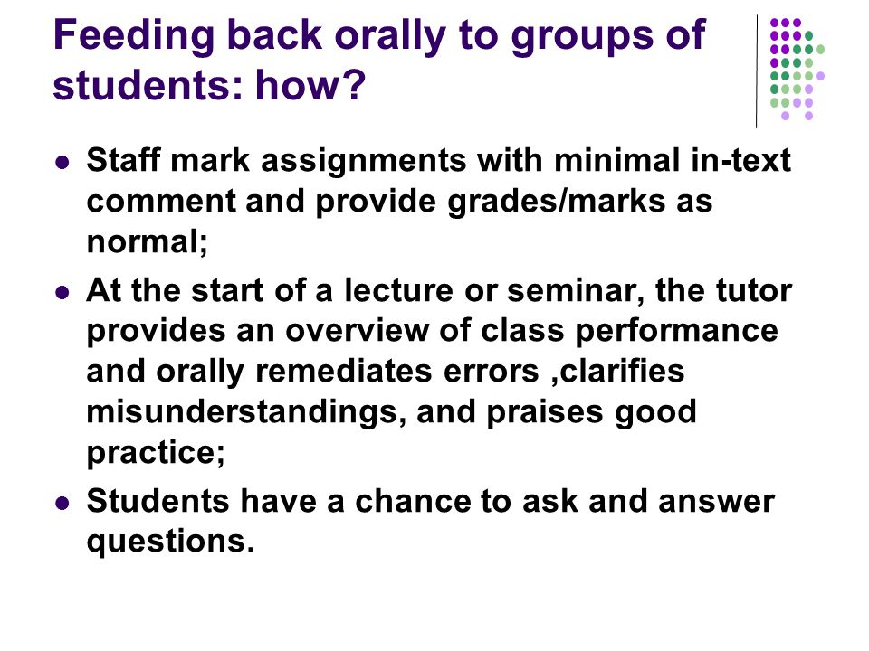 Feeding back orally to groups of students: how