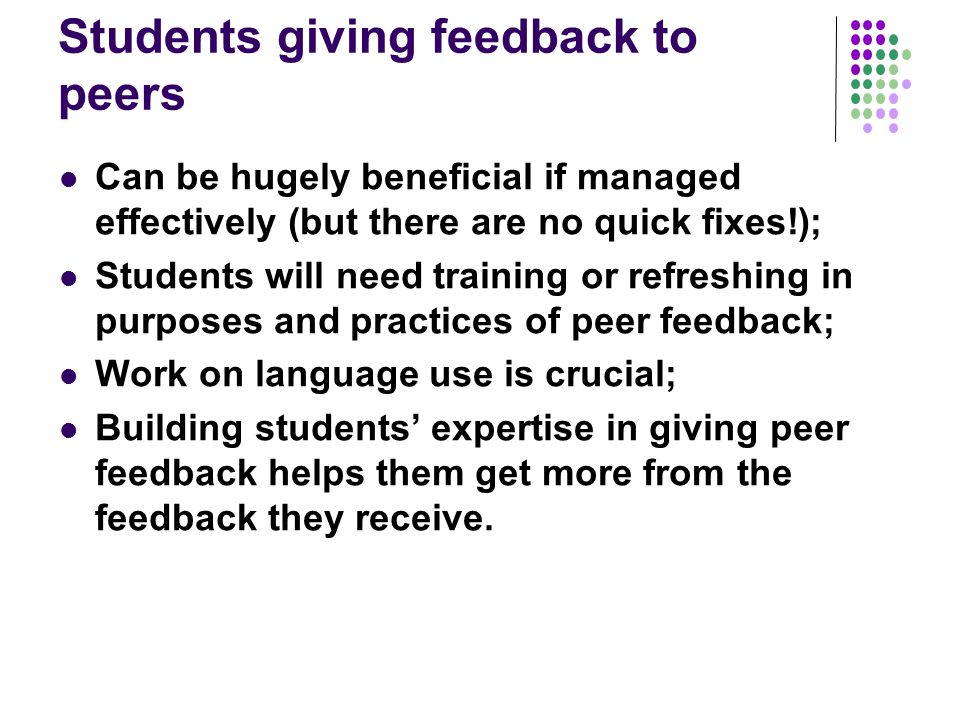 Students giving feedback to peers