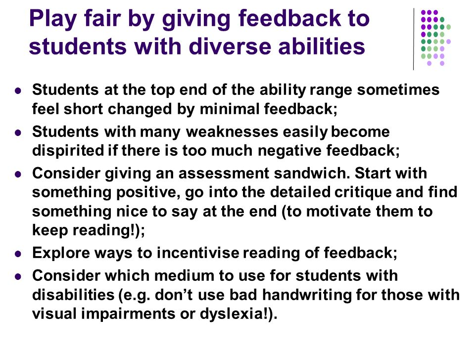 Play fair by giving feedback to students with diverse abilities