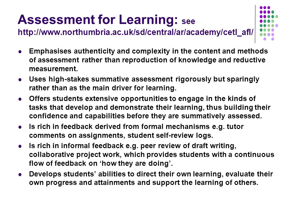 Assessment for Learning: see http://www. northumbria. ac