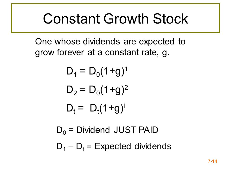 Constant Growth Stock D1 = D0(1+g)1 D2 = D0(1+g)2 Dt = Dt(1+g)t