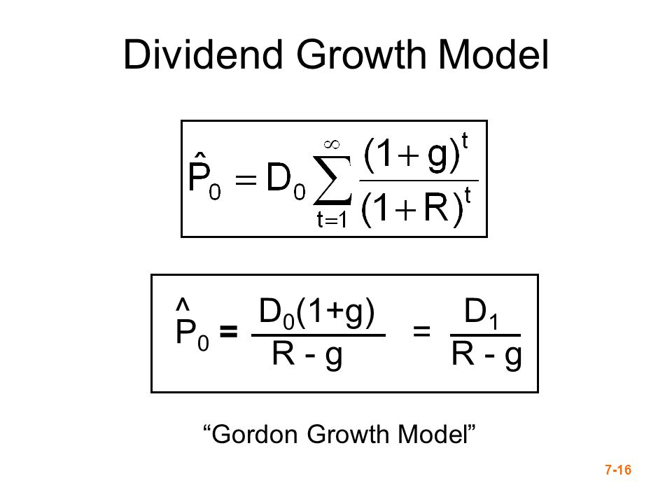Dividend Growth Model P0 = ^ D0(1+g) R - g = D1 Gordon Growth Model