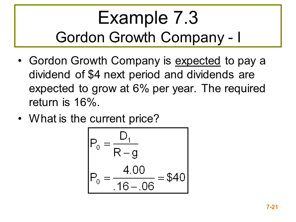 Example 7.3 Gordon Growth Company - I