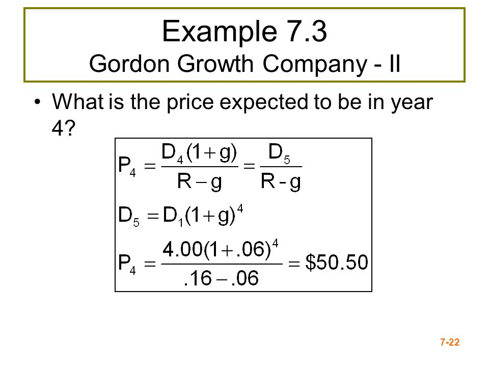 Example 7.3 Gordon Growth Company - II