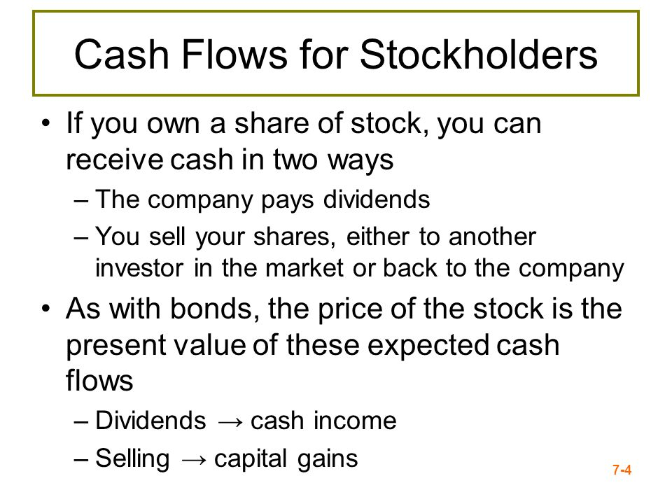Cash Flows for Stockholders
