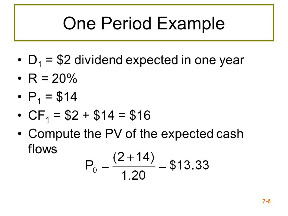 One Period Example D1 = $2 dividend expected in one year R = 20%