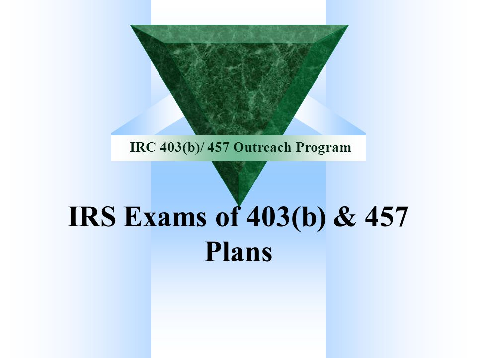 IRS Exams of 403(b) & 457 Plans
