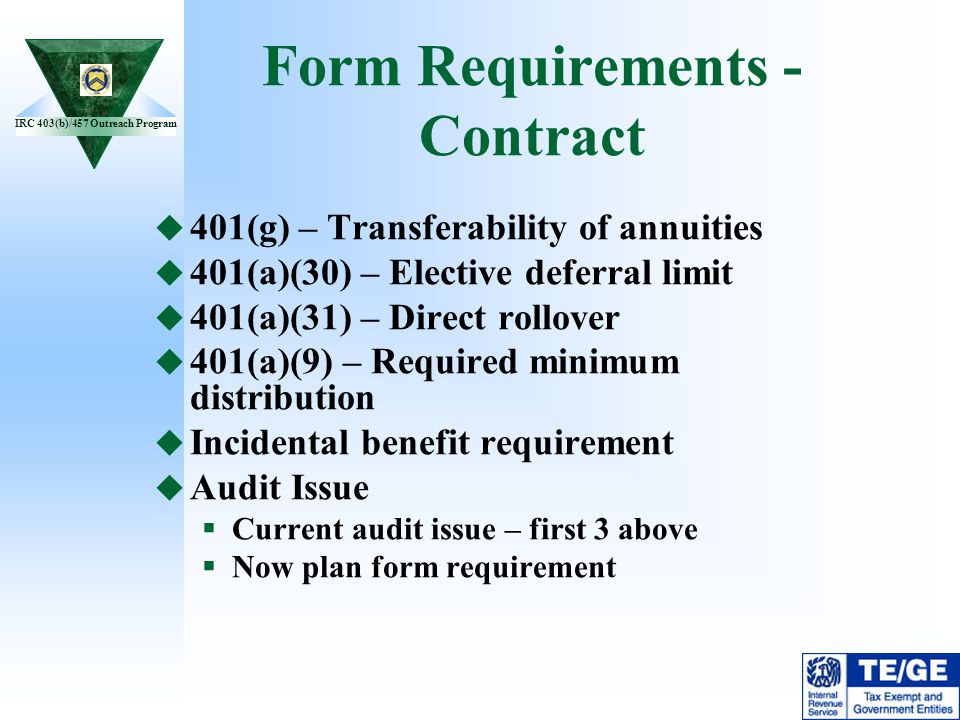 Form Requirements -Contract