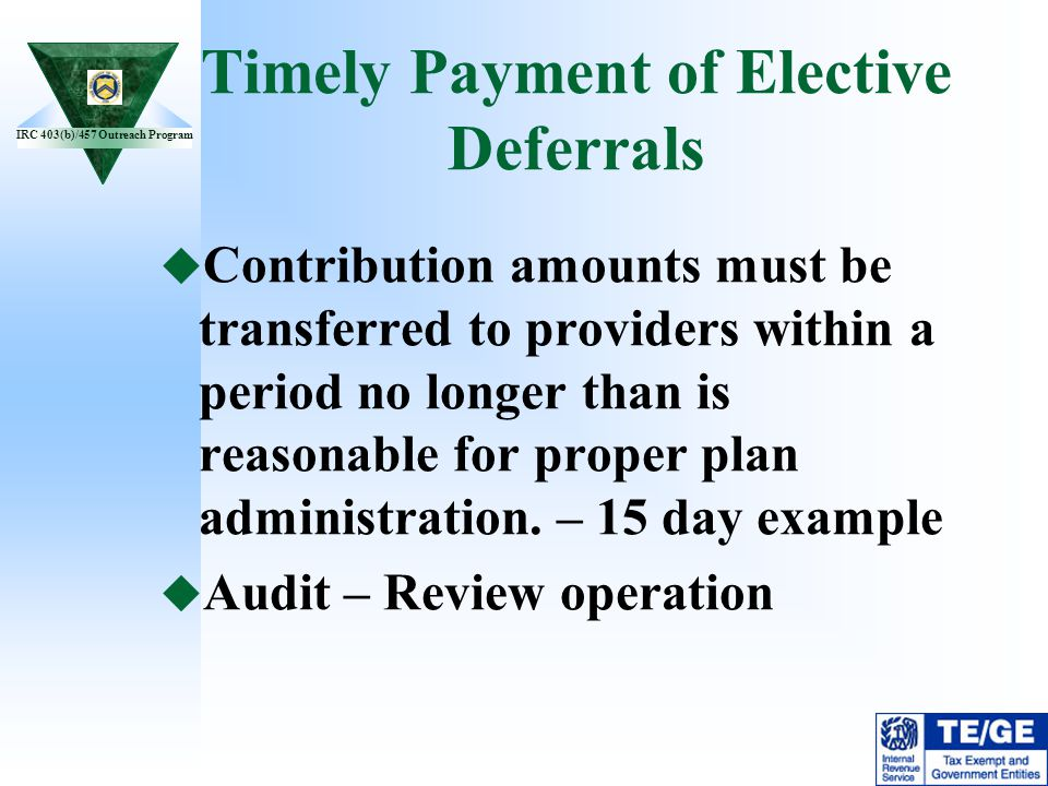 Timely Payment of Elective Deferrals