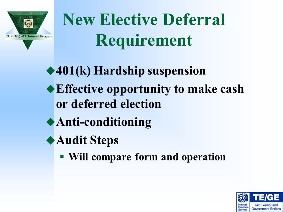 New Elective Deferral Requirement