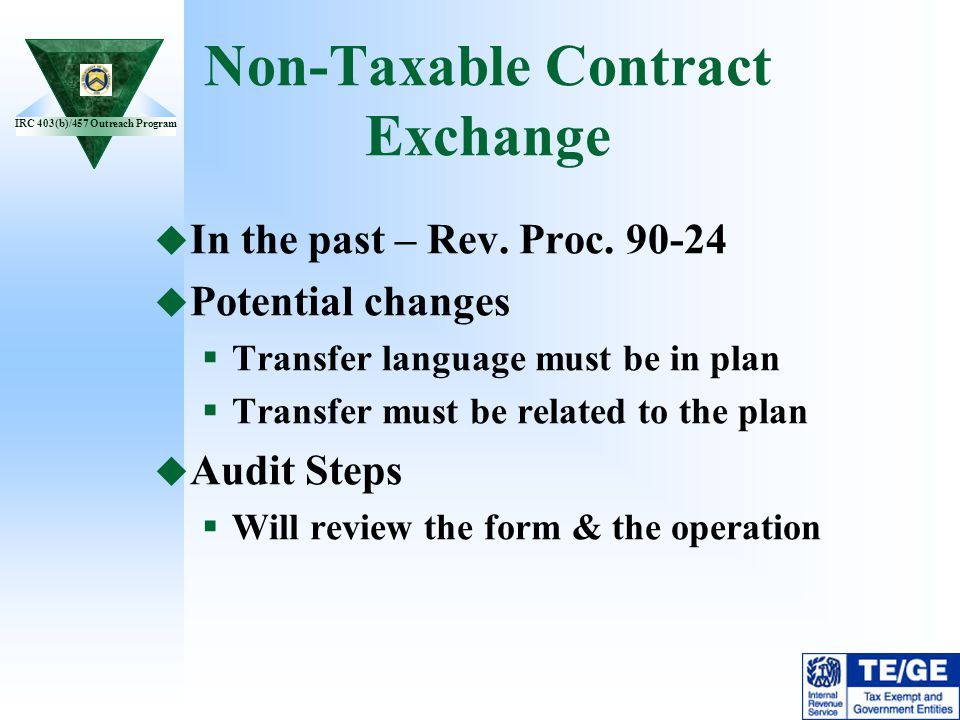 Non-Taxable Contract Exchange