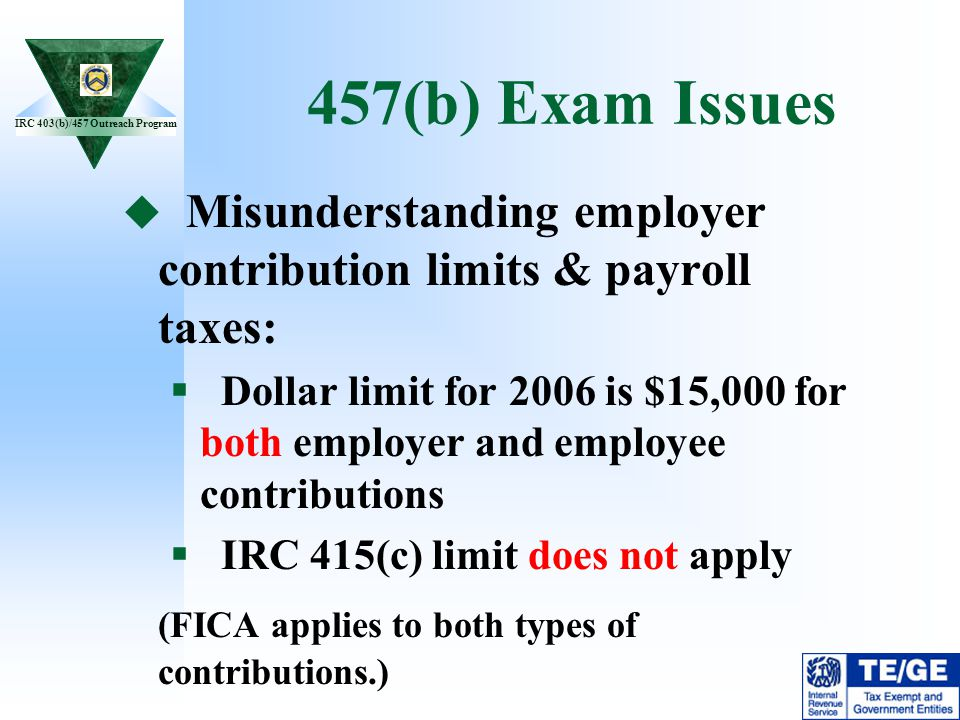 457(b) Exam Issues Misunderstanding employer contribution limits & payroll taxes: