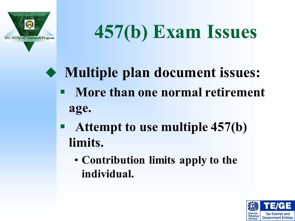 457(b) Exam Issues Multiple plan document issues: