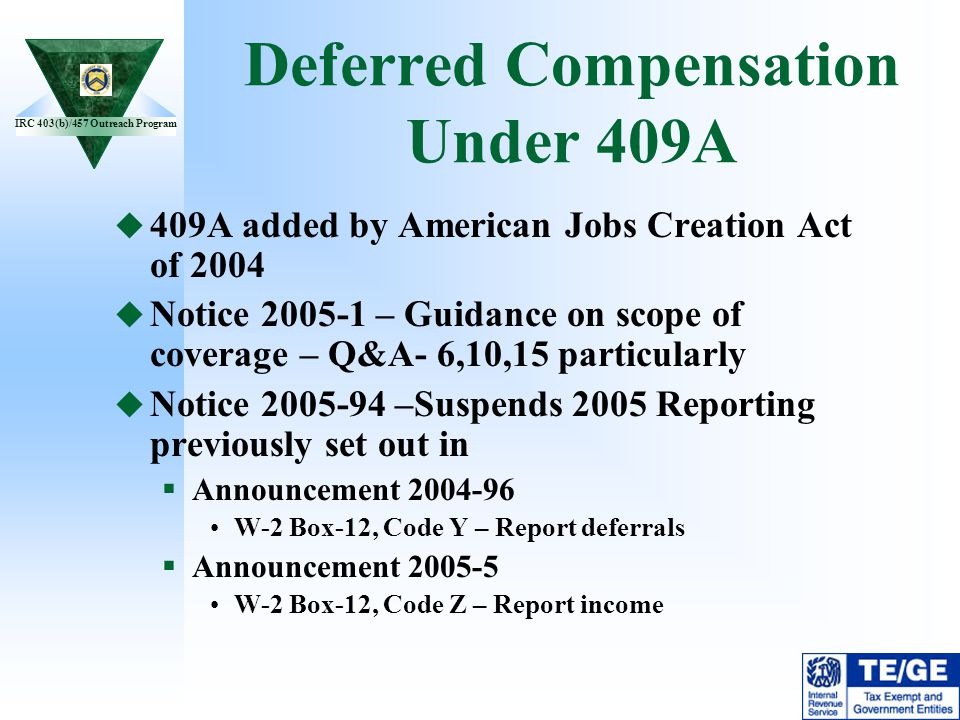 Deferred Compensation Under 409A