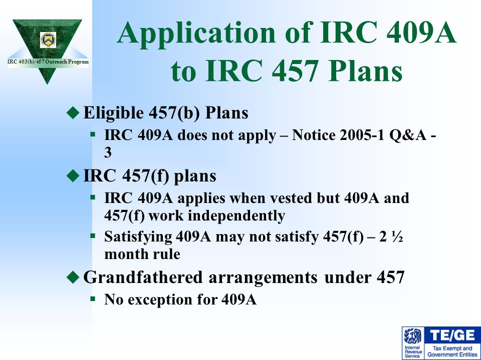 Application of IRC 409A to IRC 457 Plans
