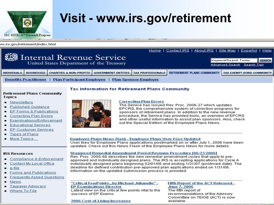 Visit - www.irs.gov/retirement