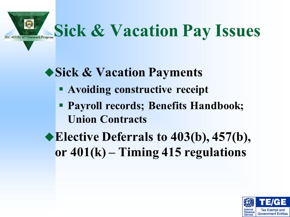 Sick & Vacation Pay Issues