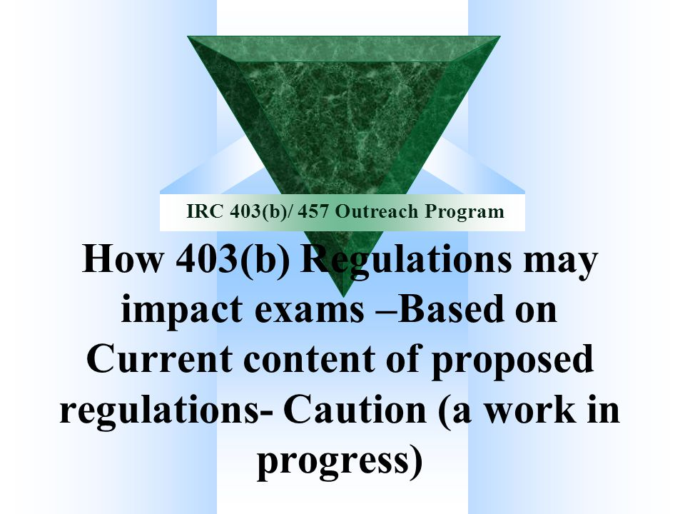 How 403(b) Regulations may impact exams –Based on Current content of proposed regulations- Caution (a work in progress)