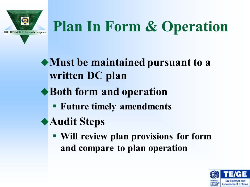 Plan In Form & Operation