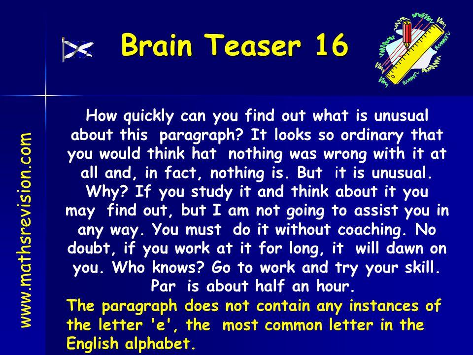 Brain Teaser 16 www.mathsrevision.com