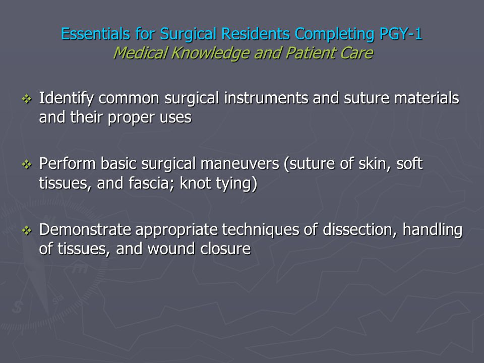 Essentials for Surgical Residents Completing PGY-1 Medical Knowledge and Patient Care