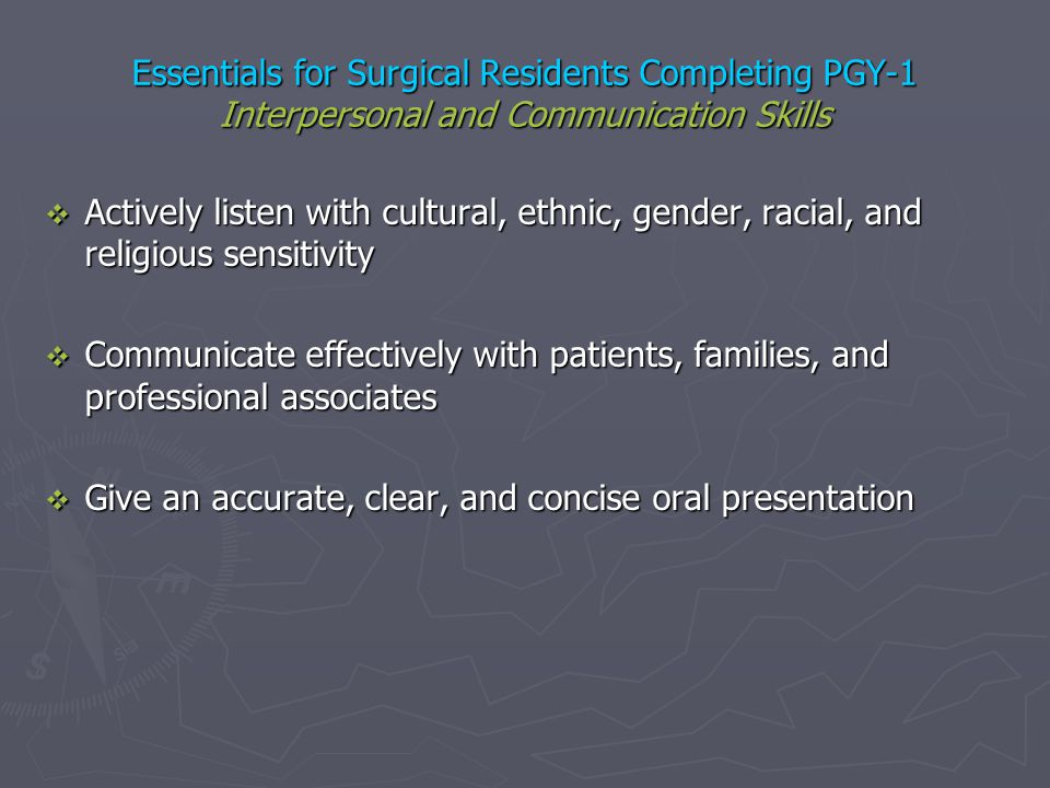 Essentials for Surgical Residents Completing PGY-1 Interpersonal and Communication Skills