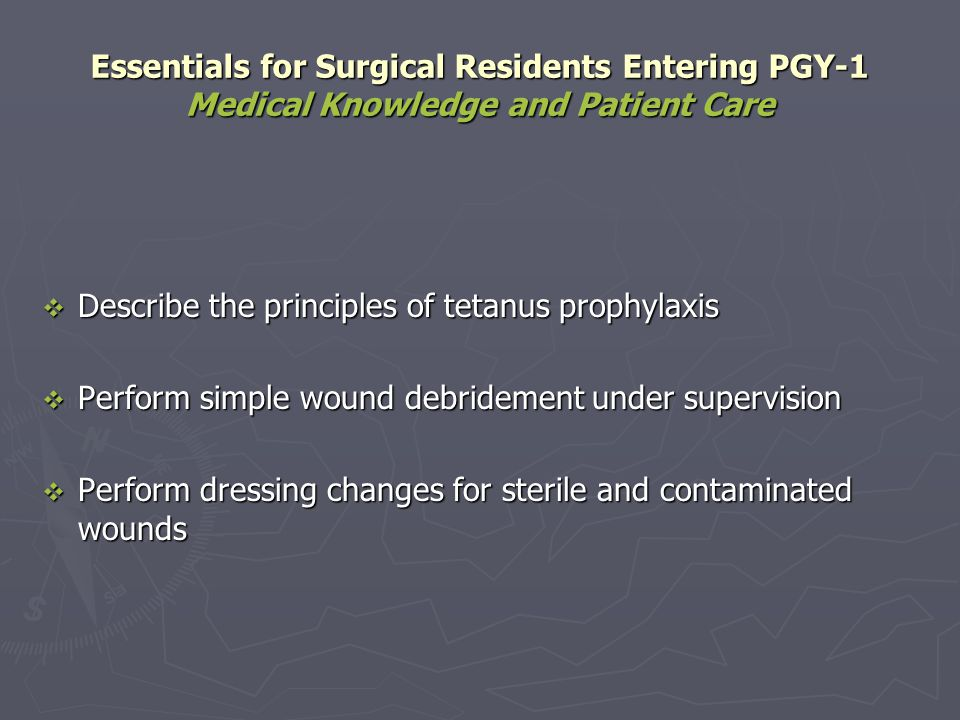 Essentials for Surgical Residents Entering PGY-1 Medical Knowledge and Patient Care