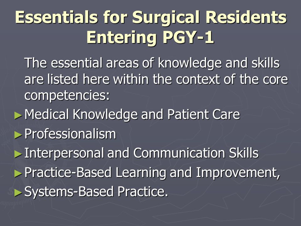 Essentials for Surgical Residents Entering PGY-1