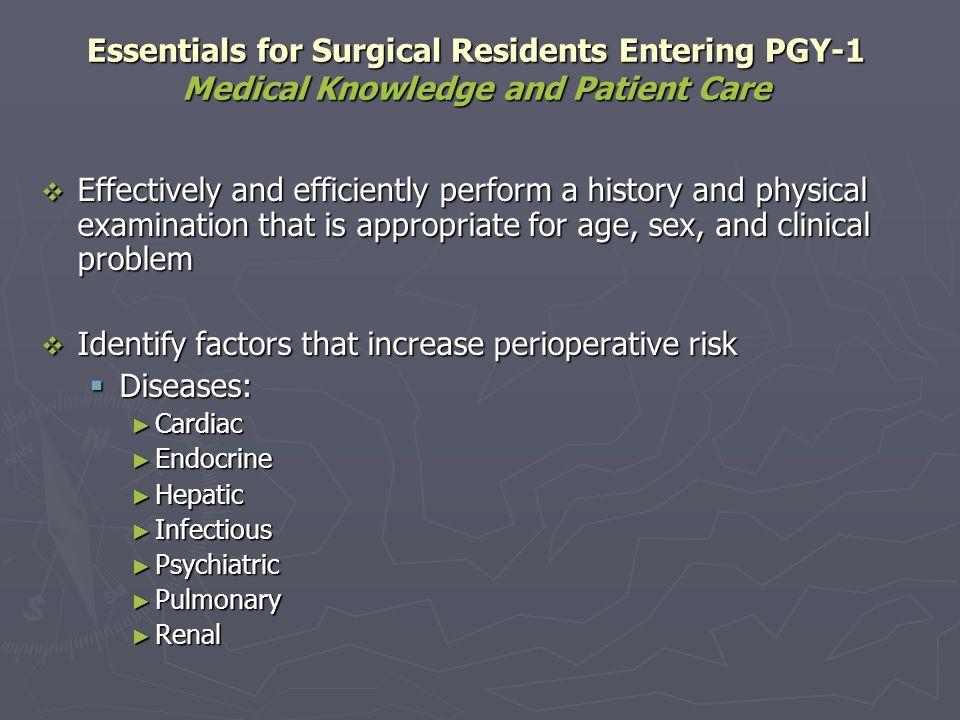 Identify factors that increase perioperative risk Diseases:
