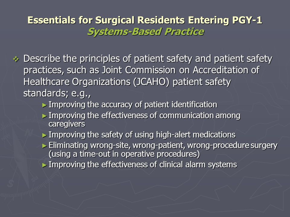 Essentials for Surgical Residents Entering PGY-1 Systems-Based Practice