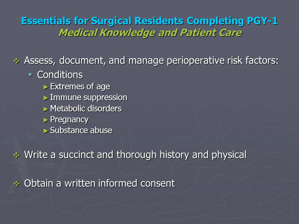 Assess, document, and manage perioperative risk factors: Conditions