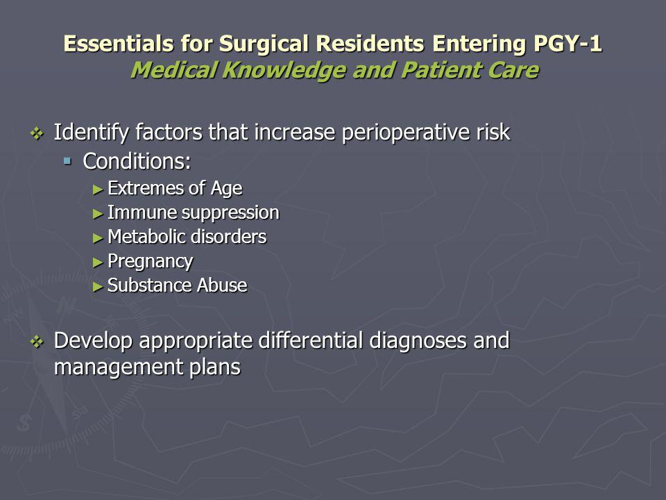 Identify factors that increase perioperative risk Conditions: