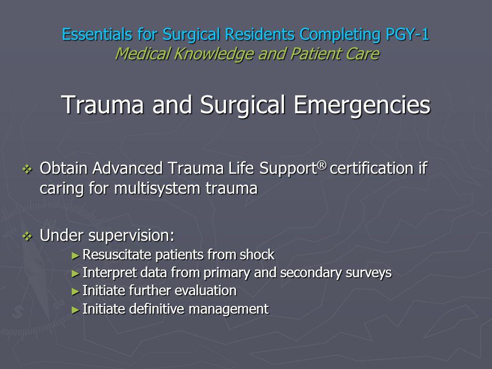 Trauma and Surgical Emergencies