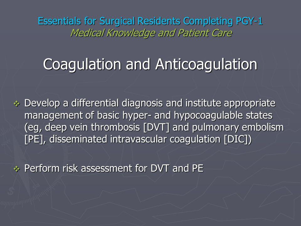 Coagulation and Anticoagulation