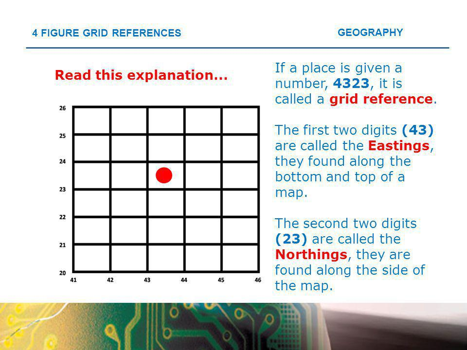 If a place is given a number, 4323, it is called a grid reference.
