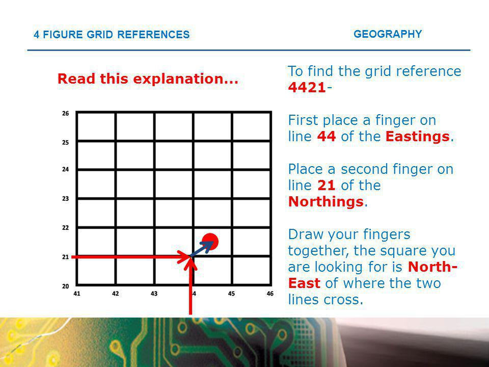 To find the grid reference 4421-