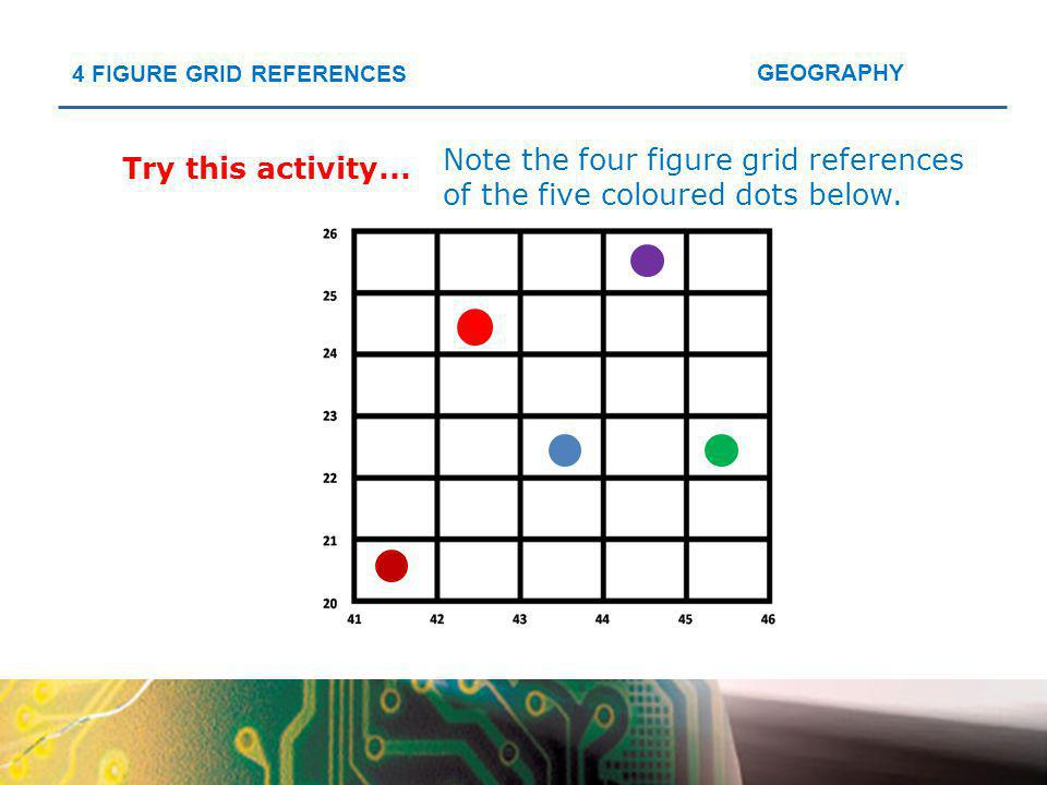 Note the four figure grid references of the five coloured dots below.