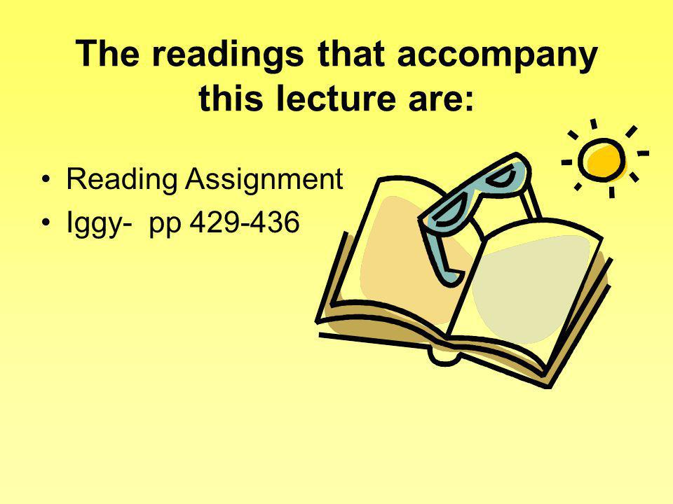 The readings that accompany this lecture are: