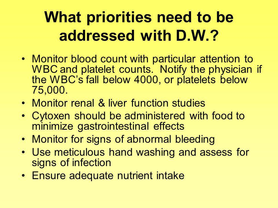 What priorities need to be addressed with D.W.