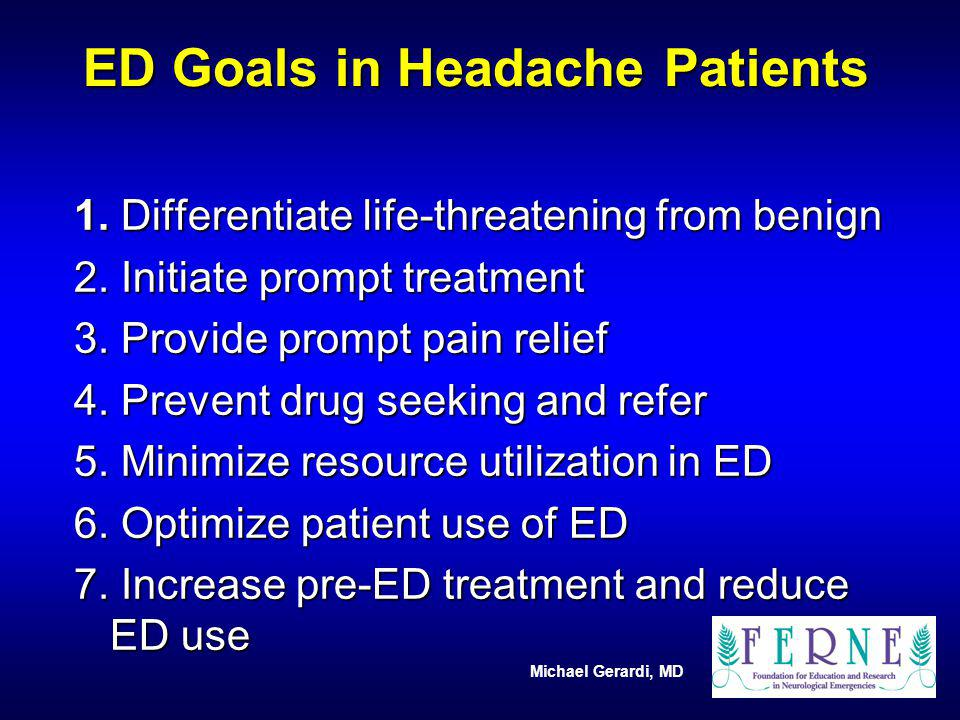 ED Goals in Headache Patients