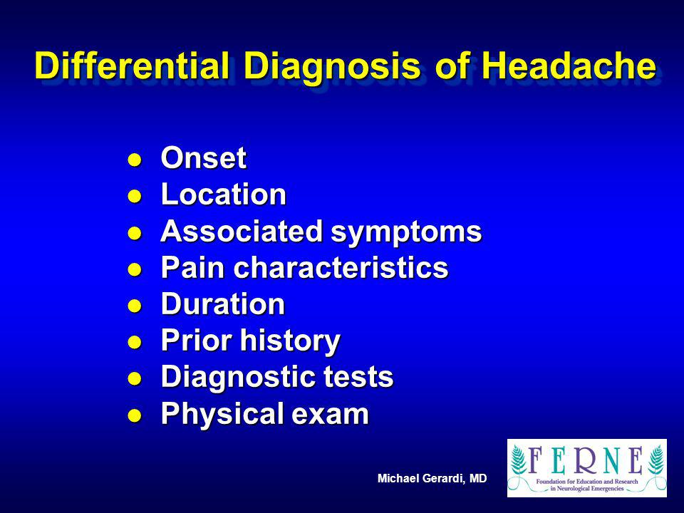 Differential Diagnosis of Headache