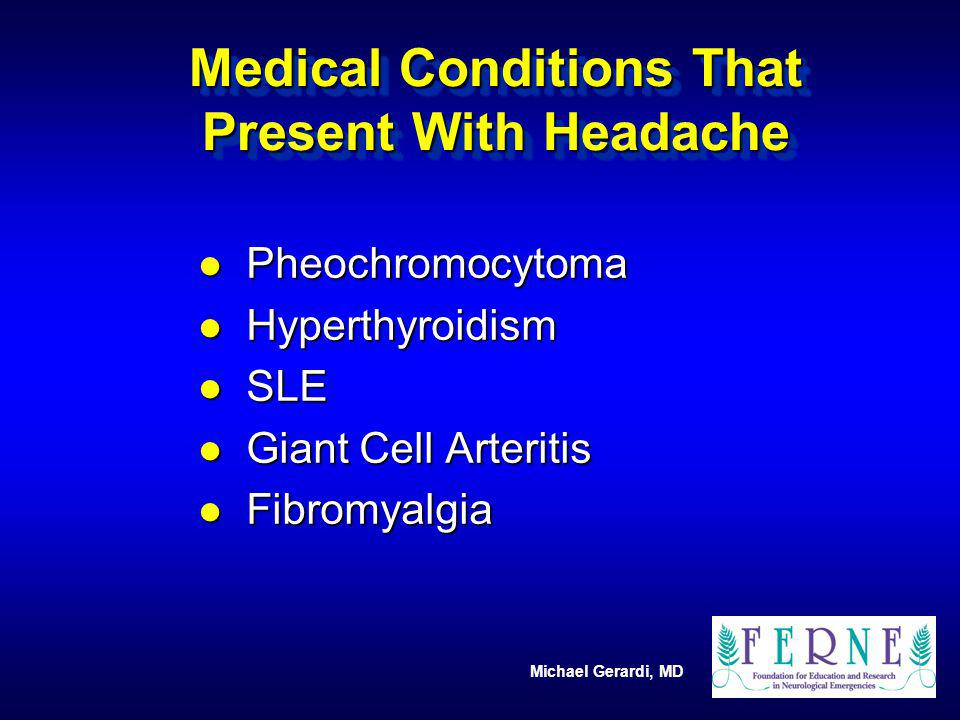 Medical Conditions That Present With Headache