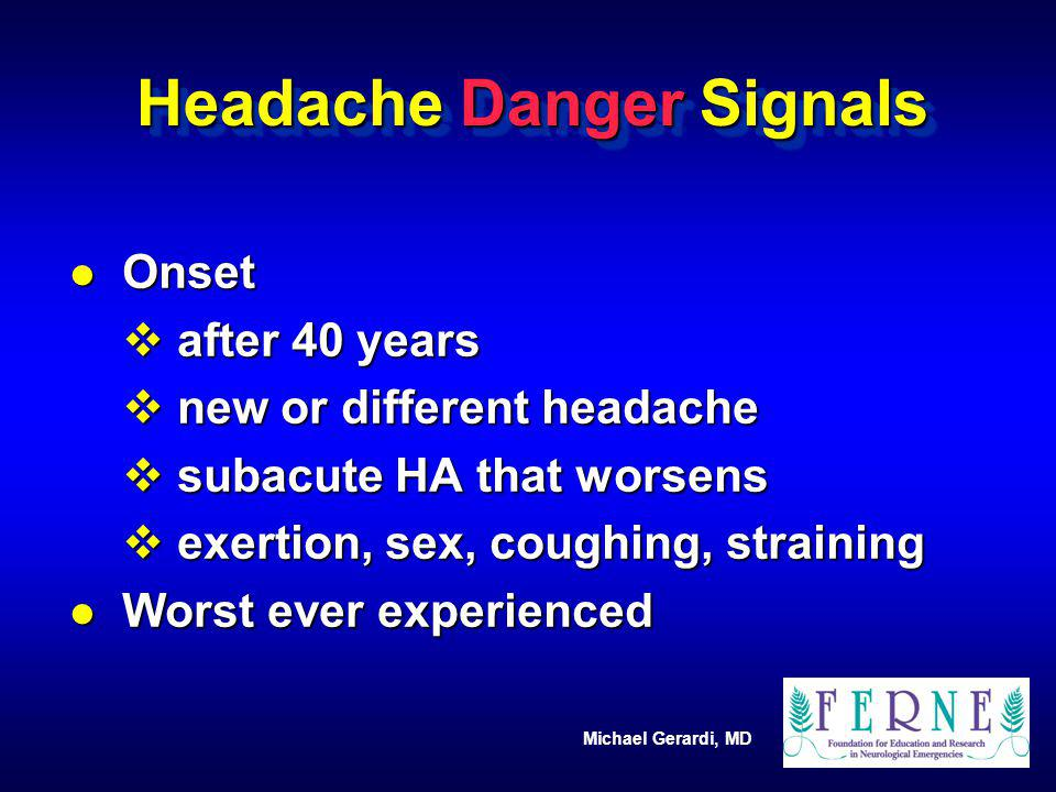 Headache Danger Signals