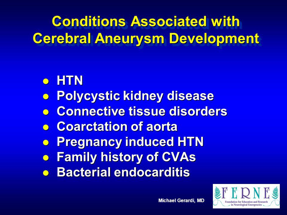Conditions Associated with Cerebral Aneurysm Development