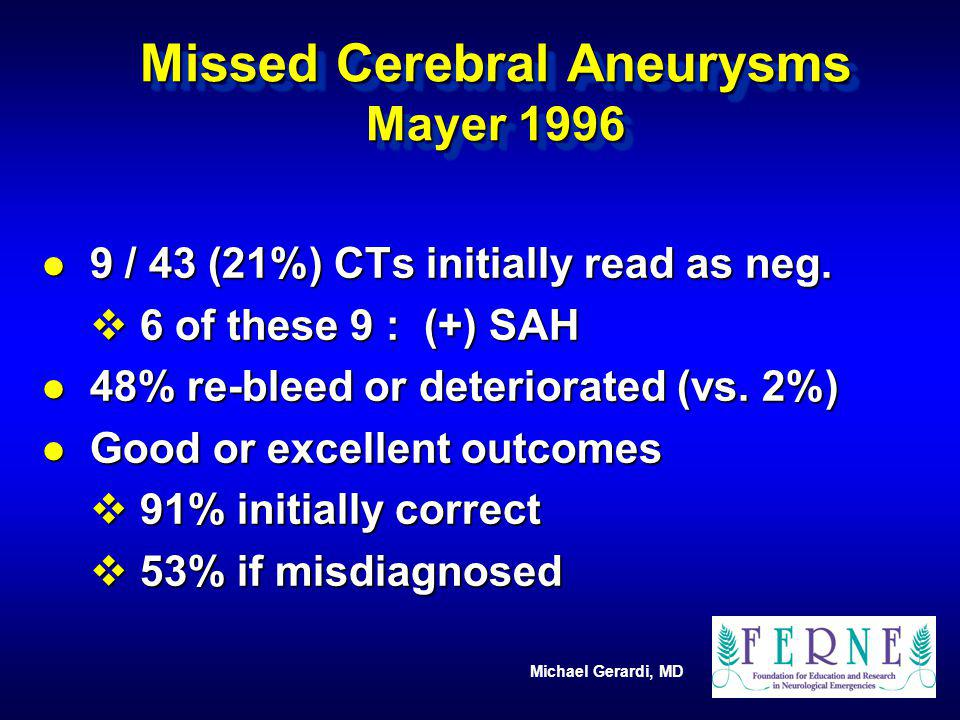 Missed Cerebral Aneurysms Mayer 1996