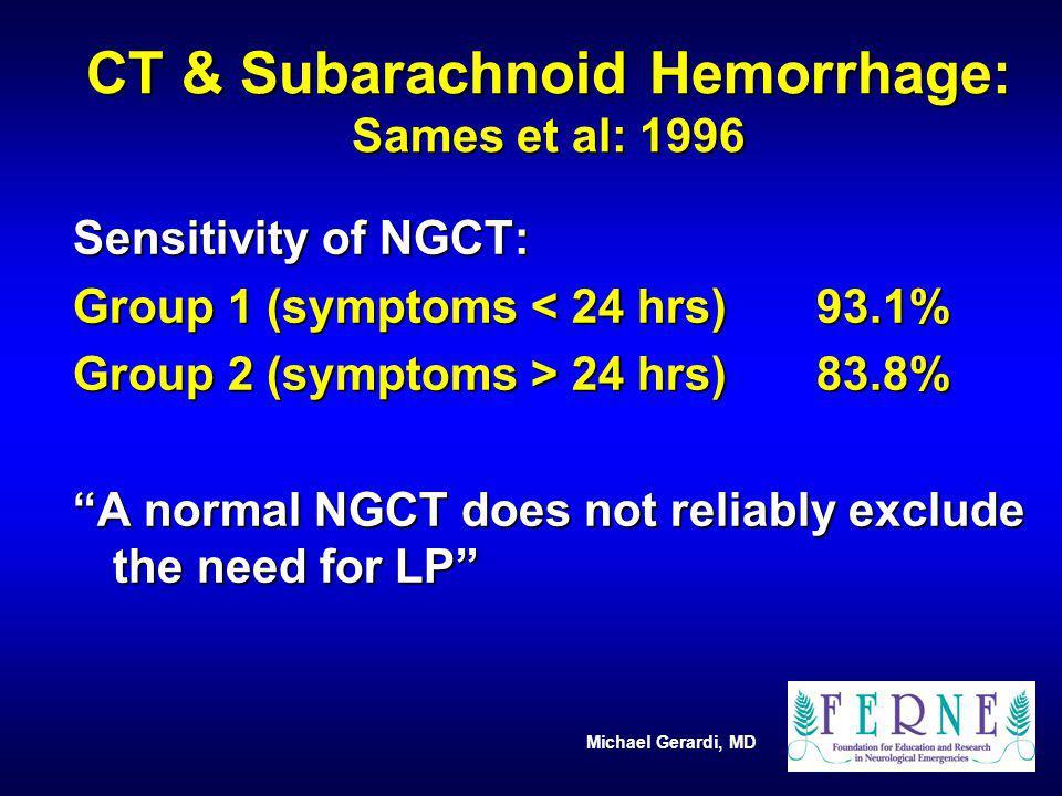 CT & Subarachnoid Hemorrhage: Sames et al: 1996